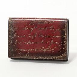 ベルルッティ Berluti ベルルッティ IMBUIA レザー 二つ折り 名刺入れ カードケース ゴールドパティーヌ RED/GOLD メンズ