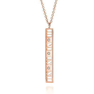 TIFFANY(ティファニー) ネックレス ティファニー アトラス バーペンダント 18K ローズゴールド ダイヤモンド