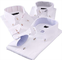 ドゥエボットーニ 【代引・同梱不可】カラーステッチボタンダウン ドゥエボットーニ チラ見せシャツ3枚セット 162【送料無料】