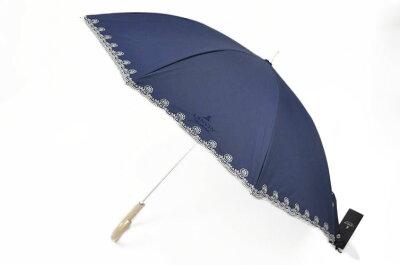 ランバン 日傘 傘 レディース 晴雨兼用 ブランド ローズ スカラップ刺繍 遮光 LANVIN 紺 ネイビー | 女性 婦人 UVカット パラソル x1x 【あす楽】
