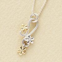 花 お花ネックレス シルバー&K18ネックレス