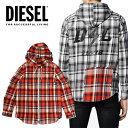 ディーゼル DIESEL ディーゼル メンズ チェックシャツ パーカー ジップフードS-ECOH シャツジャケットブラック オレンジ フード パーカー ライトアウター正規品/即納