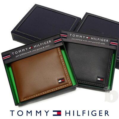 【メール便送料無料】【トミーヒルフィガー 二つ折り 財布 31TL25X014】【ip-0289】TOMMY HILFIGER トミー メンズ 財布 ウォレット サイフ レザー 革 父の日 ギフト プレゼント
