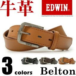 エドウィン エドウィン EDWIN ベルト カジュアル メンズ 本革 ブランドロゴ ブラック/ダークブラウン/ブラウン 幅30mm 0110937