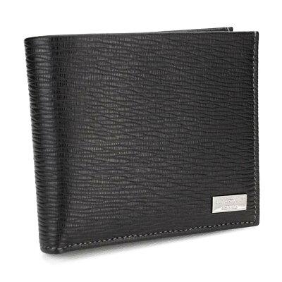フェラガモ FERRAGAMO 財布 二つ折り 66 7070 0351306 NERO ブラック メンズ