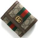 グッチ 三つ折り財布 財布 レディース GGスプリーム ベージュ&エボニー&ブラウン 523174 96IWG 8745 GUCCI
