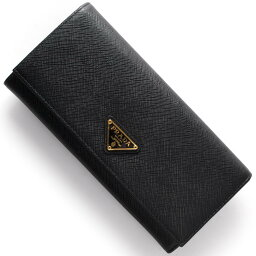 プラダ 長財布(メンズ) 【X'masSALE】プラダ 長財布 財布 メンズ SAFFIANO TRIANG 三角ロゴプレート ブラック 1MH132 QHH F0002 PRADA