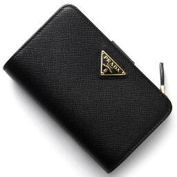 プラダ 二つ折り財布 レディース プラダ 二つ折り財布 財布 レディース サフィアーノ トライアングル 三角ロゴプレート ブラック 1ML225 QHH F0002 PRADA