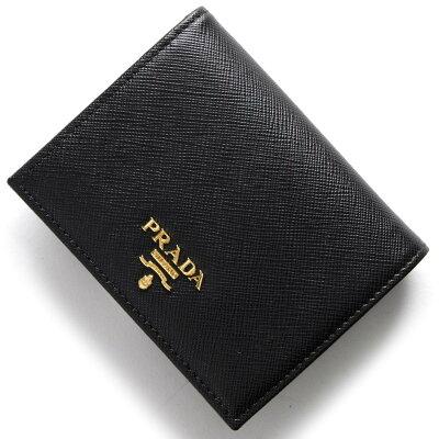 プラダ 二つ折り財布 財布 レディース サフィアーノ メタル SAFFIANO METAL ブラック 1MV204 QWA F0002 PRADA