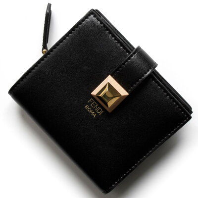 フェンディ 二つ折り財布/ミニ財布 財布 レディース レインボー スモール スタッズ ブラック&アプリコットピンク 8M0386 SR0 F13JQ FENDI