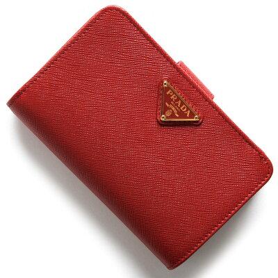 d2ac2129f9c9 プラダ 二つ折り財布 財布 レディース サフィアーノ トライアングル SAFFIANO TRIANG 三角ロゴプレート フォーコレッド 1ML225