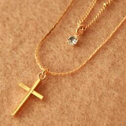 ボナバンチュール ◆ボナバンチュール(Bonaventure)スワロフスキー付2連十字架(クロス・ロザリオ)モチーフネックレス・ペンダント(レディース アクセサリー)人気に 訳あり お試し プレゼントにも