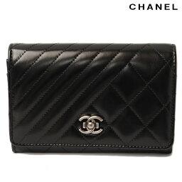 シャネル 二つ折り財布(レディース) シャネル 折財布/中型財布 CHANEL マトラッセ/シェブロン レザー A82207 ブラック