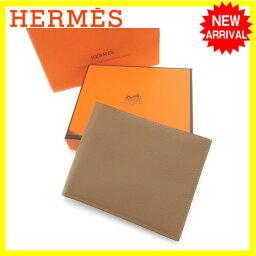 エルメス 二つ折り財布(メンズ) エルメス HERMES 二つ折り札入れ メンズ ブラウン レザー (あす楽対応)新品 未使用【未使用】 J11238