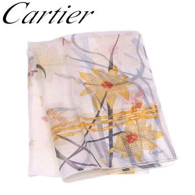 カルティエ Cartier ストール スカーフ レディース プリント ベージュ イエロー ブラック系 シルク100% 訳あり 未使用品 【未使用】 T6708 .