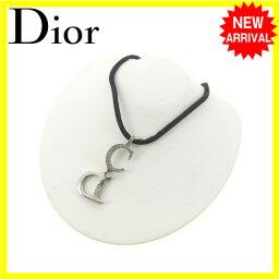 ディオール ネックレス(レディース) クリスチャン・ディオール Christian Dior ネックレス アクセサリー レディース ラインストーン シルバー×ブラック (あす楽対応) Y3934 .