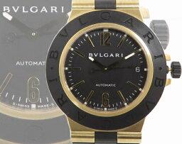 アルミニウム 腕時計(メンズ) 【美品】ブルガリ BVLGARI ディアゴノ アルミニウム AL38G K18YG ラバー メンズ腕時計 k71