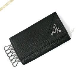 プラダ キーケース 《最大1000円クーポン》プラダ キーケース PRADA メンズ レザー 6連 ブラック 2PG222 QME F0002 | ブランド