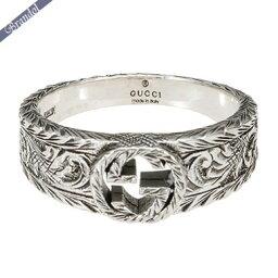 グッチ 指輪 グッチ リング メンズ 指輪 インターロッキングG 彫銀風 シルバーリング シルバー 455249 J8400 0701
