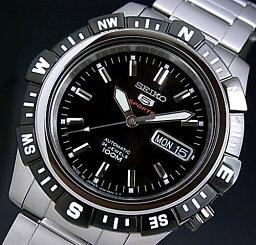 ファイブスポーツ SEIKO/SEIKO5 Sports【セイコー5スポーツ/ファイブスポーツ】自動巻 メンズ腕時計 MADE IN JAPAN ブラックベゼル メタルベルト ブラック文字盤 SRP139J1海外モデル