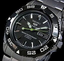 ファイブスポーツ SEIKO/SEIKO5 Sports【セイコー5スポーツ/ファイブスポーツ】自動巻 メンズ腕時計 メタルベルト ブラック文字盤 SNZB23J1 海外モデル MADE IN JAPAN