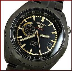 ファイブスポーツ SEIKO/SEIKO5 Sports【セイコー5スポーツ/ファイブスポーツ】自動巻 メンズ腕時計 MADE IN JAPAN ブラックメタルベルト ブラック/ゴールド文字盤 SSA071J1 海外モデル
