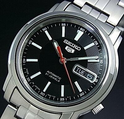 SEIKO/SEIKO5【セイコー5/セイコーファイブ】自動巻 メンズ腕時計 メタルベルト ブラック文字盤 MADE IN JAPAN 海外モデル【並行輸入品】 SNKL83J1