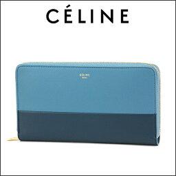 セリーヌ 財布(レディース) セリーヌ 長財布(ラウンドファスナー) CELINE 105013 XTM 06BM 財布 レディース MEDIUM BLUE(ミディアムブルー) ブルー/水色 バイカラー フェミニン 上品【 送料無料】