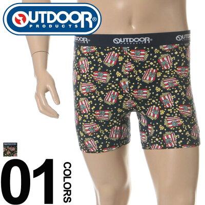 大きいサイズ メンズ OUTDOOR PRODUCTS (アウトドアプロダクツ) ウエストロゴ ポップコーン 総柄 前開き ボクサーパンツ [3L-6L] サカゼン ビジネス カジュアル ボクサー パンツ 下着 肌着