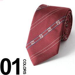 フェンディ フェンディ FENDI ネクタイ シルク RED ズッカ ストライプ ブランド メンズ ビジネス 雑貨 FDA2SQF0QHD