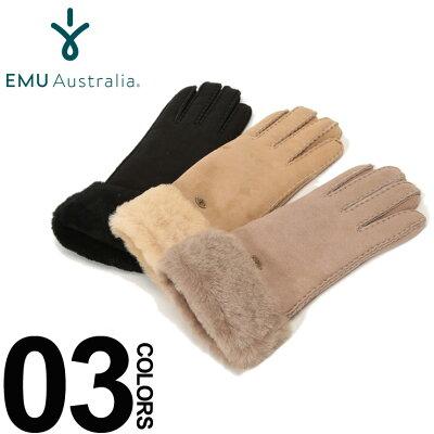 EMU Australia (エミューオーストラリア) シープスキン ファー グローブブランド レディース カジュアル ファッション 小物 手袋 防寒 レザー 秋冬 裏ファー EMLW9405