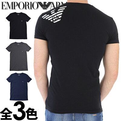 EMPORIO ARMANI[エンポリオアルマーニ]メンズ Vネック スリムフィット ロゴ 半袖Tシャツ イーグルマーク ブラック グレー ネイビー イーグルマーク S M L XL おしゃれ ブランド 大きいサイズ [5,400円以上で送料無料] [あす楽][1108108a745]
