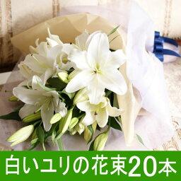 ユリ 送料無料 ゆりの花束 輪数80輪前後 白いゆり ホワイト 20本 母の日 送別会 贈り物 ユリ 百合 ギフト プレゼント お祝い フラワーギフト