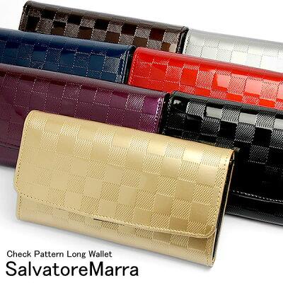 【Salvatore Marra】 サルバトーレマーラ 長財布 チェック柄 エナメル アコーディオン レディース ウォレット ブランド ladies さいふ サイフ