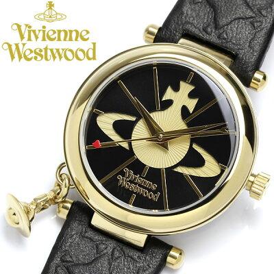 【送料無料】【Vivienne Westwood】 ヴィヴィアンウエストウッド 腕時計 レディース 本革レザー オーブチャーム付き VV006BKGD ブランド 女性用 ladies ウォッチ うでどけい