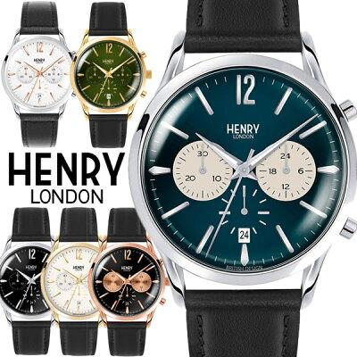 【100%本物保証】【送料無料】ヘンリーロンドン HENRY LONDON 腕時計 クロノグラフ メンズ 革ベルト レザー ウォッチ ローズゴールド ブランド 人気 ランキング シンプル 41mm 父の日 ギフト