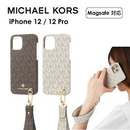 マイケルコース スマホケース MICHAEL KORS iPhone12 12Pro スリム ケース マイケルコース Slim Wrap Case Signature with Hand Strap Magsafe スマホケース 正規代理店