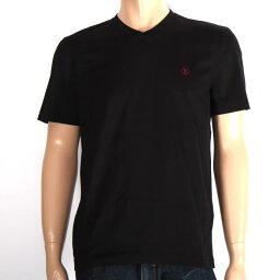 ルイヴィトン LOUIS VUITTON ルイヴィトン 半袖VネックTシャツ 1A1PGC ブラック×レッドLV刺繍 メンズ【新品・未使用・正規品】売れ筋