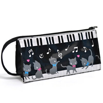 ペンケース ピアノの上で踊る黒猫ワルツ(ブラック) (筆箱 子ども ペンポーチ ファスナー 子供 小学校 シンプル 大容量 女の子 ピアノ 猫 モノトーン)