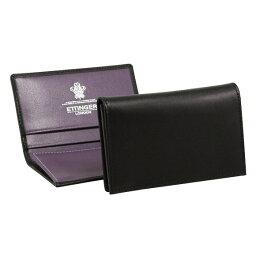 エッティンガー エッティンガー ETTINGER メンズ 名刺入れ(カードケース) ブラック ロイヤルコレクション LEATHER VISITING CARD CASE ST143JR BLACK/PURPLE PURPLE/STERLING COLLECTION