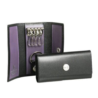 エッティンガー ETTINGER キーケース ロイヤルコレクション ブラック 黒 KEY CASE WITH 4 HOCKS ST840AJR BLACK/PURPLE PURPLE/STERLING COLLECTION【英国】