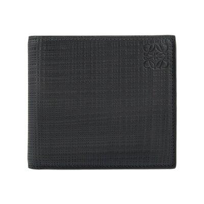 ロエベ LOEWE 財布 メンズ二つ折り財布(小銭入れ付) LINEN BIFOLD/COIN WALLET [リネン ビルフォールド/コインウォレット] ブラック 黒 101 88 501 1100 BLACK
