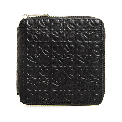 ロエベ LOEWE 財布 レディース ラウンドファスナー二つ折り財布 ブラック 黒 REPEAT SQUARE ZIP WALLET [リピート スクエアジップウォレット] 107 55 M88 1100 BLACK
