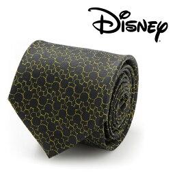 ディズニー  ネクタイ シルク Various Licensed Mickey's 90th Anniversary Compact Silhouette Men's Tie ディズニー ミッキー マウス アニバーサリー シルエット ブラック ゴールド DN-M90-BK-TR