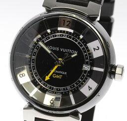 ルイ ルイヴィトン 腕時計(メンズ) 【LOUIS VUITTON】ルイ・ヴィトン タンブール インブラック GMT Q113K ラバー 自動巻き メンズ【180128】