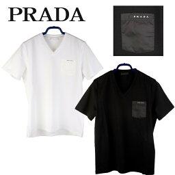 プラダ 【新品■正規品■送料無料■ギフト包装無料】PRADA プラダ ナイロンポケット バッジ Vネック Tシャツ メンズ 男性 ギフト プレゼント 誕生日 お祝い