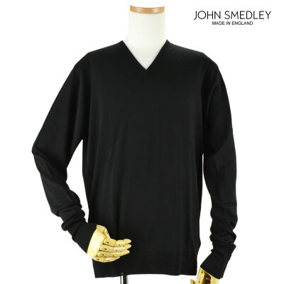ジョンスメドレー JOHN SMEDLEY bobby-black BOBBY ボビー Vネック ニット セーター ウール メンズ ブラック BLACK 黒【送料無料】