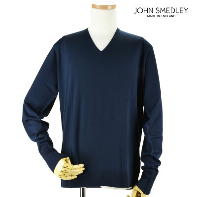 ジョンスメドレー JOHN SMEDLEY bobby-midnight ボビー Vネック ニット セーター ウール メンズ ミッドナイト【送料無料】