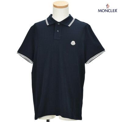 モンクレール MONCLER 83043.00 84556/773 POLO SHIRT 鹿の子 ポロシャツ ロゴワッペン付き 半袖 ネイビー系 メンズ【送料無料】