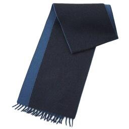 プラダ マフラー(レディース) ポイント5倍以上! プラダ マフラー USC108 PRADA カシミア100% ダブル  BLUE+AVIO ブルー+アヴィオ ネイビー/ブルー ロゴ刺繍 アウトレット あす楽対応